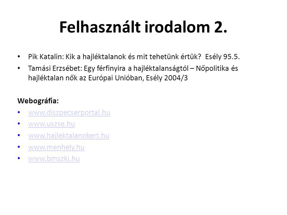 Felhasznált irodalom 2. Pik Katalin: Kik a hajléktalanok és mit tehetünk értük Esély 95.5.