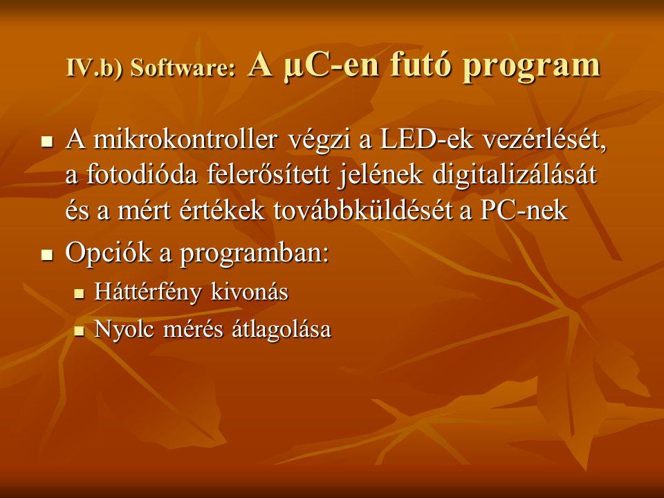 IV.b) Software: A µC-en futó program
