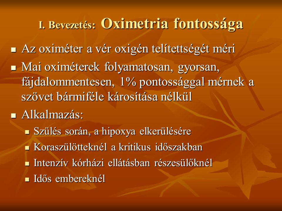I. Bevezetés: Oximetria fontossága