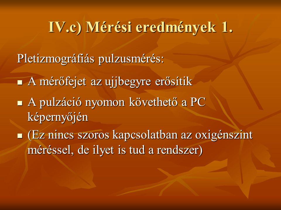 IV.c) Mérési eredmények 1.