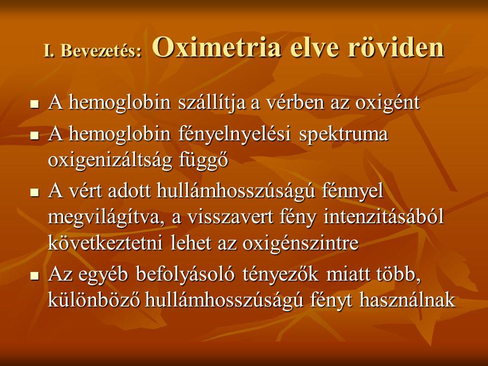 I. Bevezetés: Oximetria elve röviden