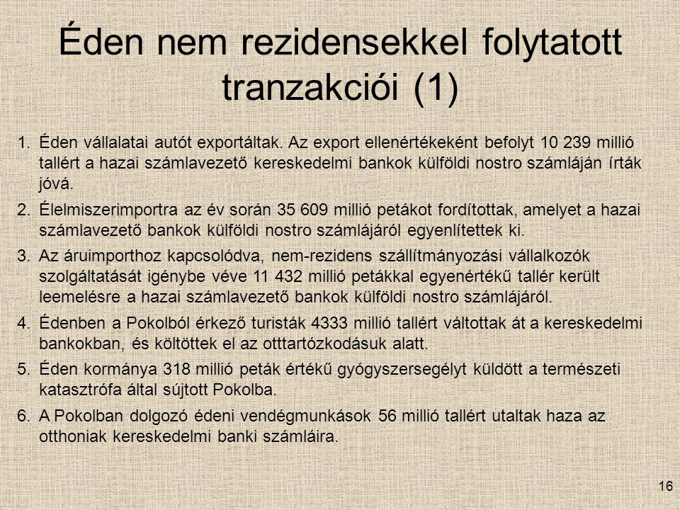 Éden nem rezidensekkel folytatott tranzakciói (1)