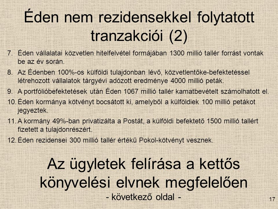 Éden nem rezidensekkel folytatott tranzakciói (2)