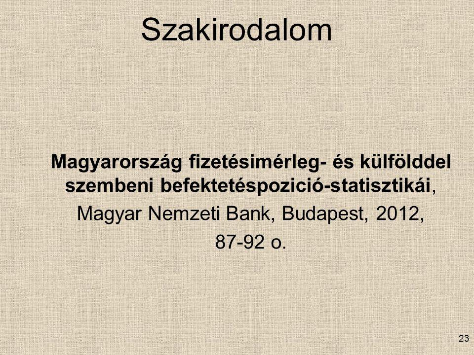 Szakirodalom Magyarország fizetésimérleg- és külfölddel szembeni befektetéspozició-statisztikái, Magyar Nemzeti Bank, Budapest, 2012, 87-92 o.