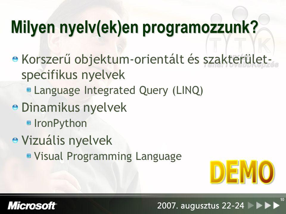 Milyen nyelv(ek)en programozzunk