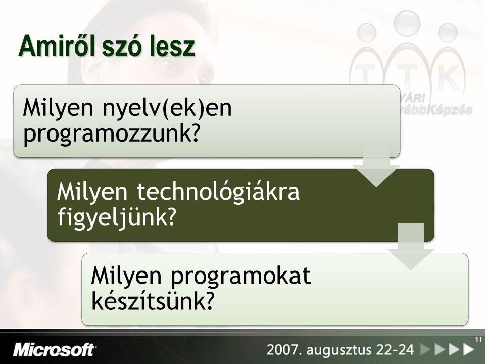 Amiről szó lesz Milyen nyelv(ek)en programozzunk