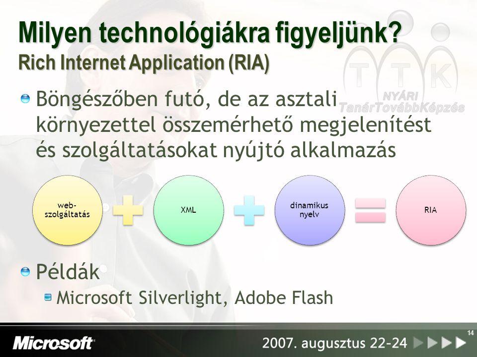 Milyen technológiákra figyeljünk Rich Internet Application (RIA)