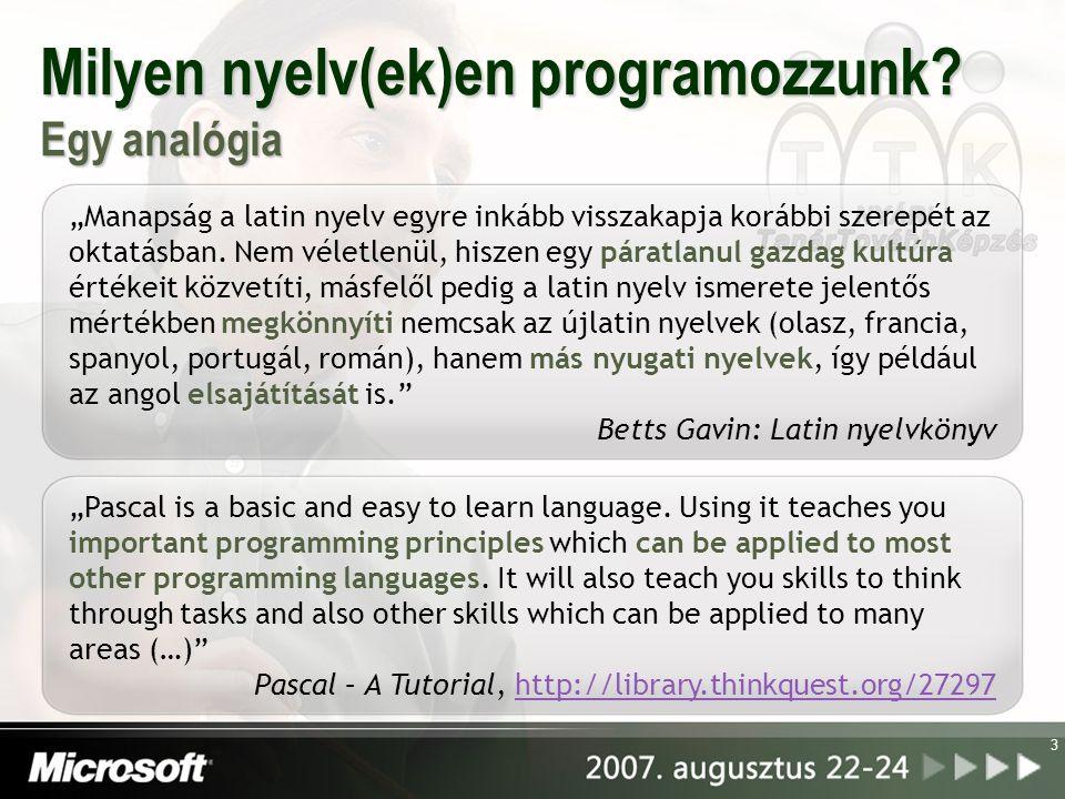 Milyen nyelv(ek)en programozzunk Egy analógia