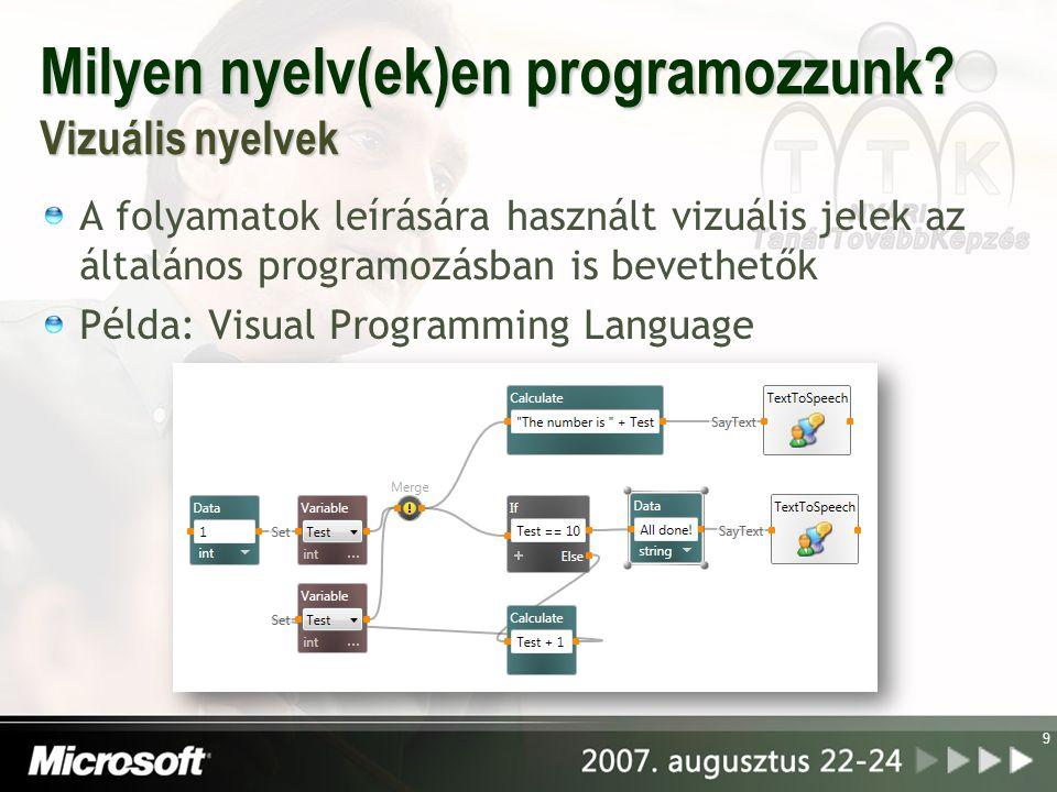 Milyen nyelv(ek)en programozzunk Vizuális nyelvek
