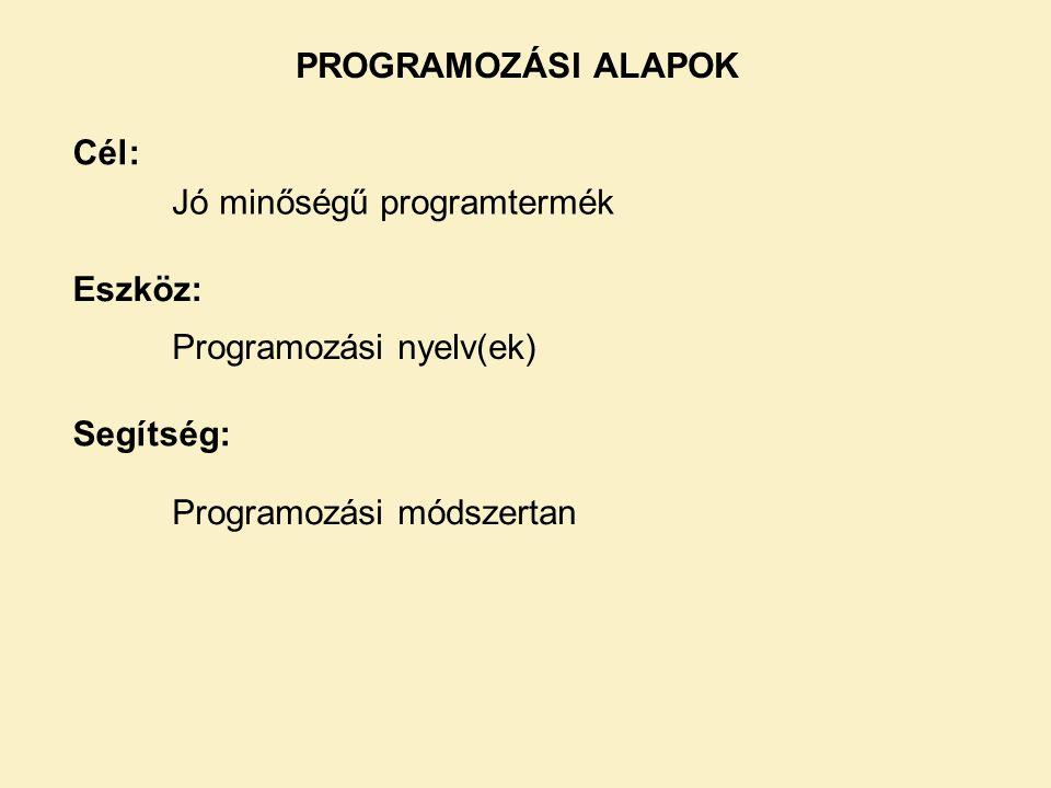 PROGRAMOZÁSI ALAPOK Cél: Jó minőségű programtermék.