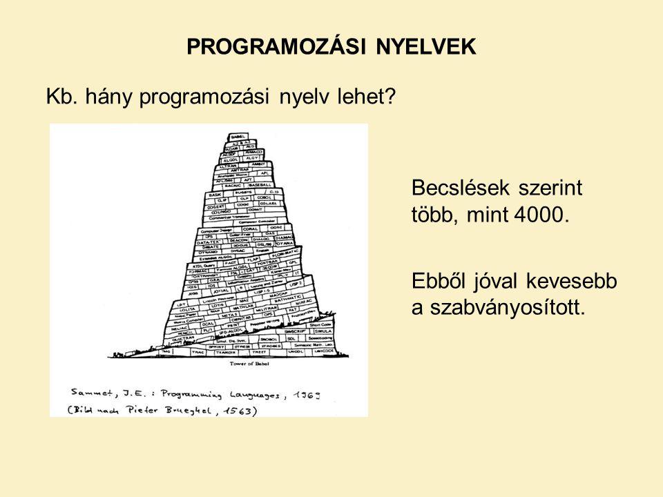 PROGRAMOZÁSI NYELVEK Kb. hány programozási nyelv lehet.
