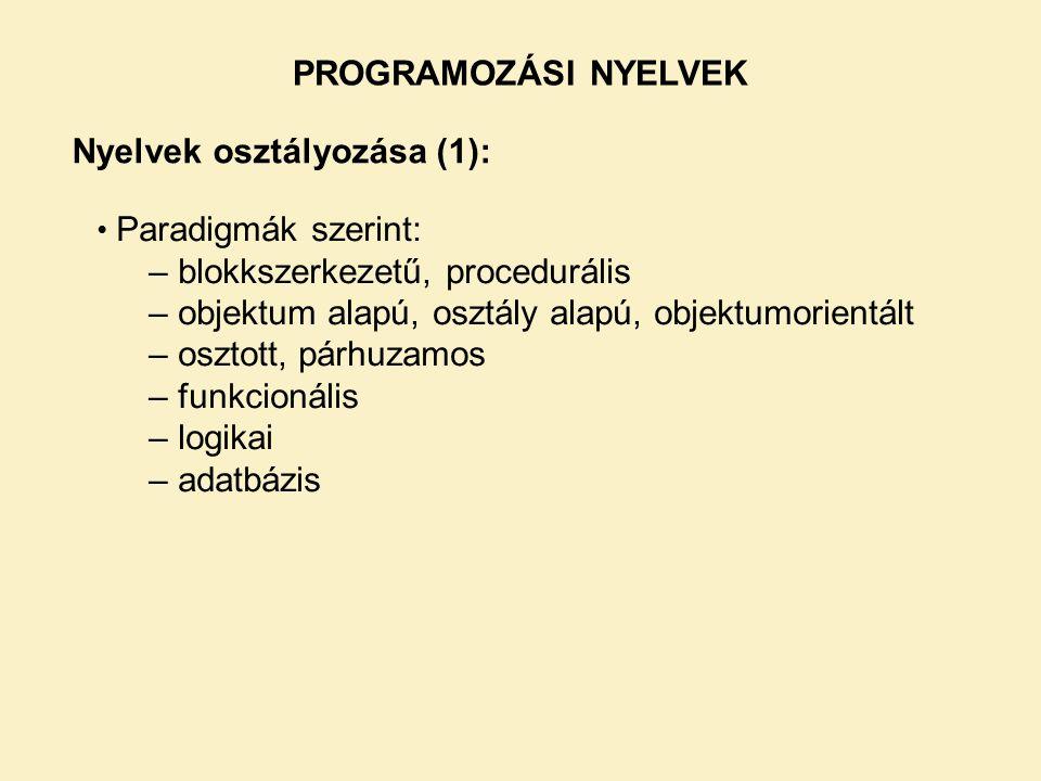 Nyelvek osztályozása (1):