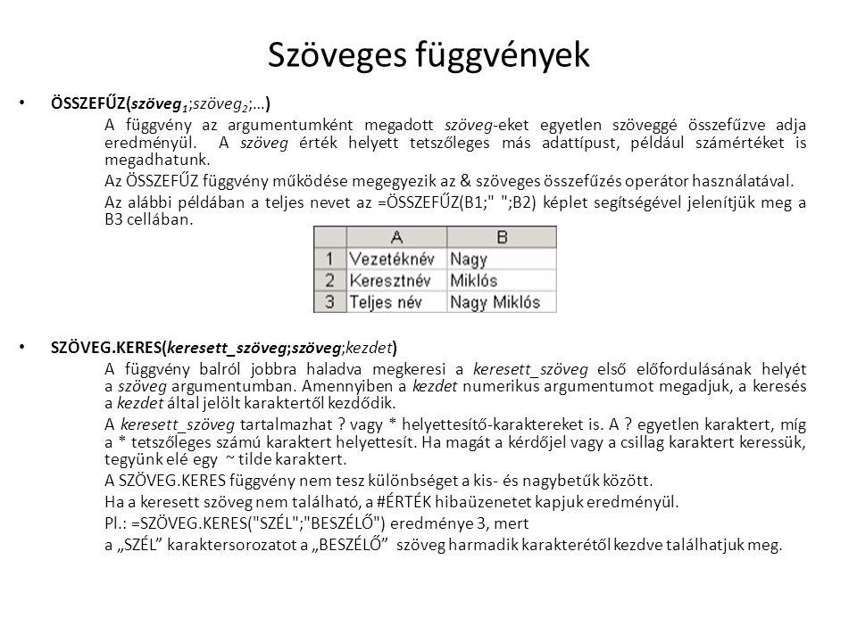 Szöveges függvények ÖSSZEFŰZ(szöveg1;szöveg2;…)