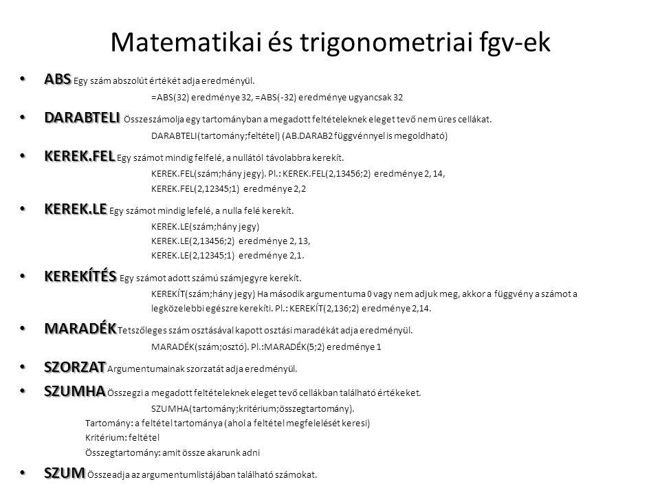 Matematikai és trigonometriai fgv-ek