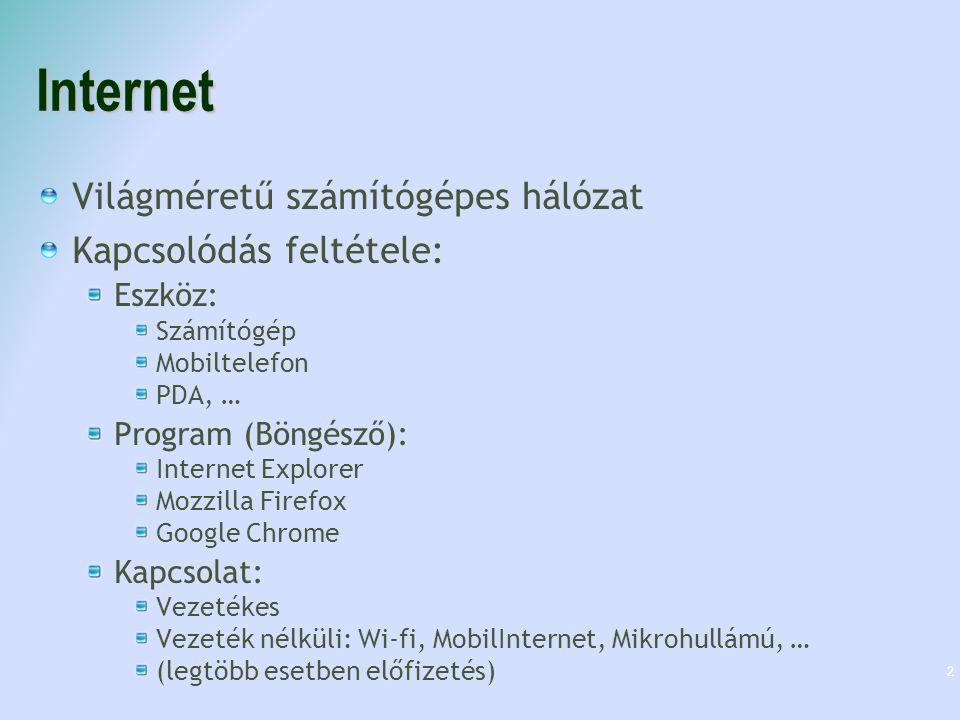 Internet Világméretű számítógépes hálózat Kapcsolódás feltétele: