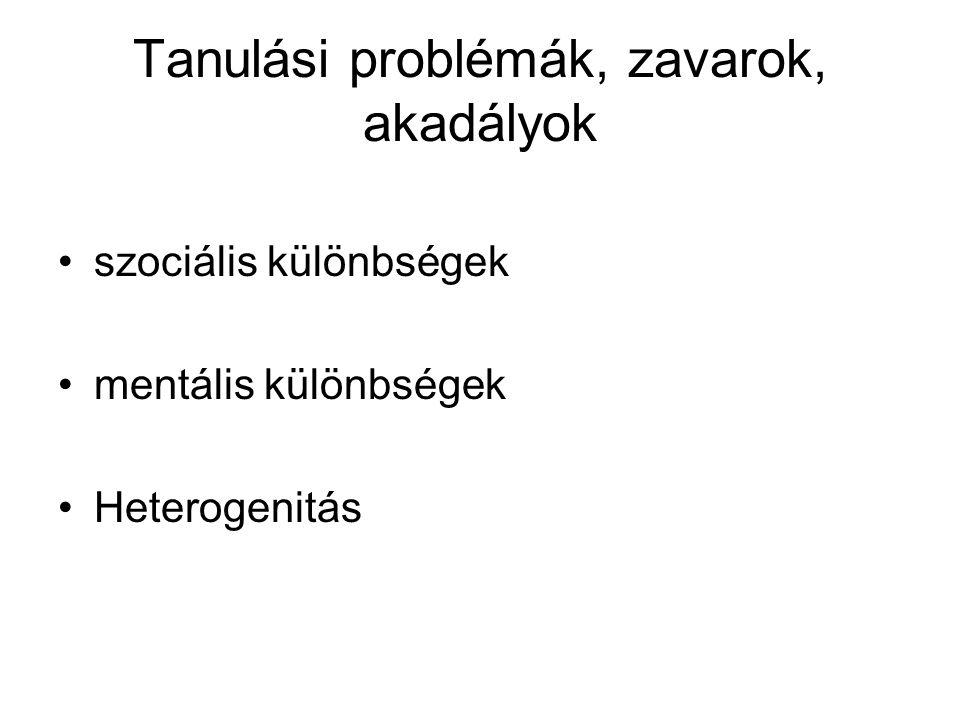 Tanulási problémák, zavarok, akadályok
