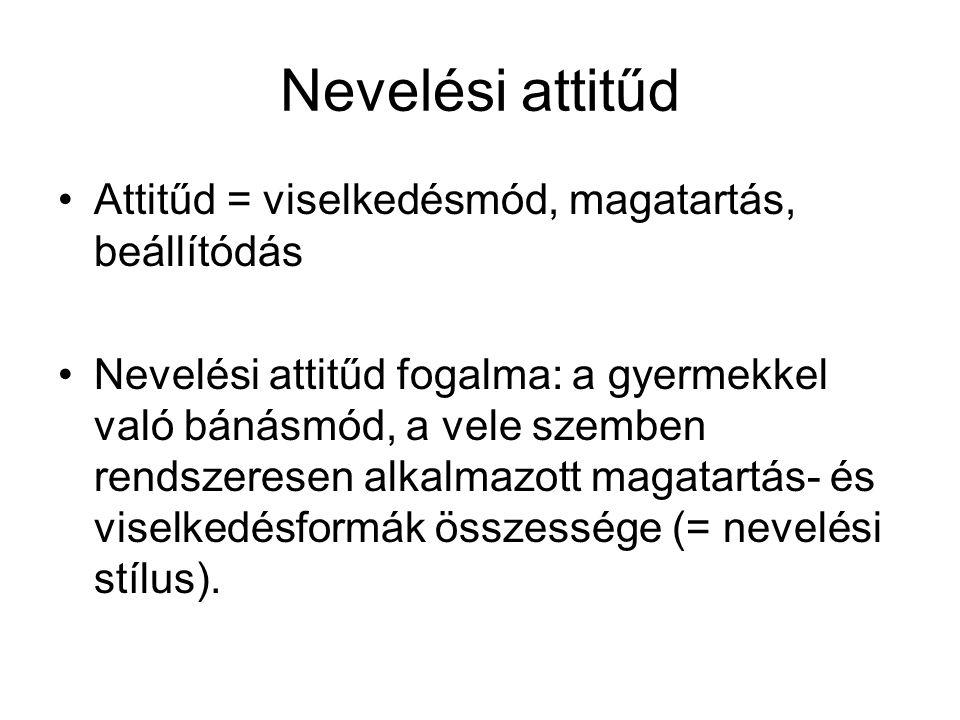 Nevelési attitűd Attitűd = viselkedésmód, magatartás, beállítódás