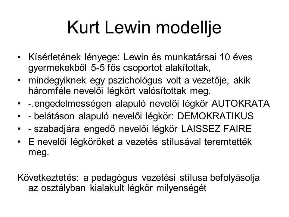 Kurt Lewin modellje Kísérletének lényege: Lewin és munkatársai 10 éves gyermekekből 5-5 fős csoportot alakítottak,