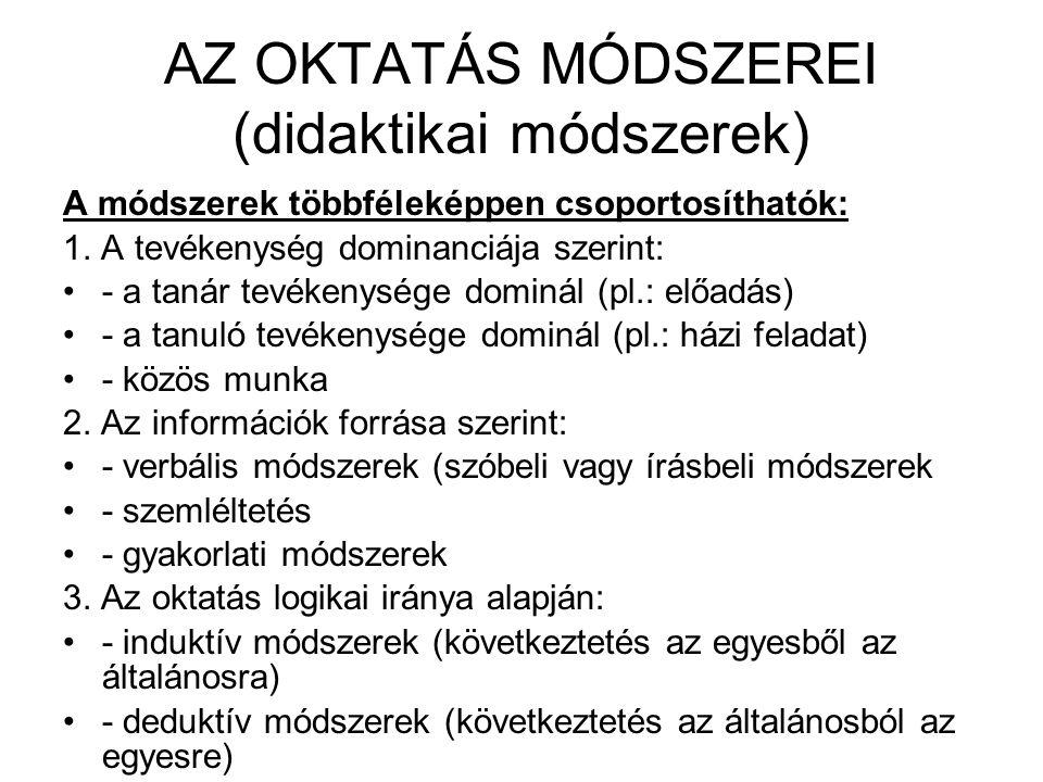 AZ OKTATÁS MÓDSZEREI (didaktikai módszerek)