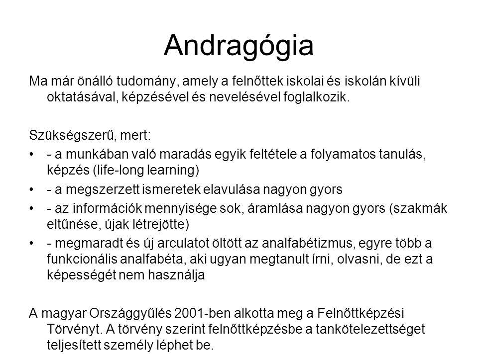 Andragógia Ma már önálló tudomány, amely a felnőttek iskolai és iskolán kívüli oktatásával, képzésével és nevelésével foglalkozik.