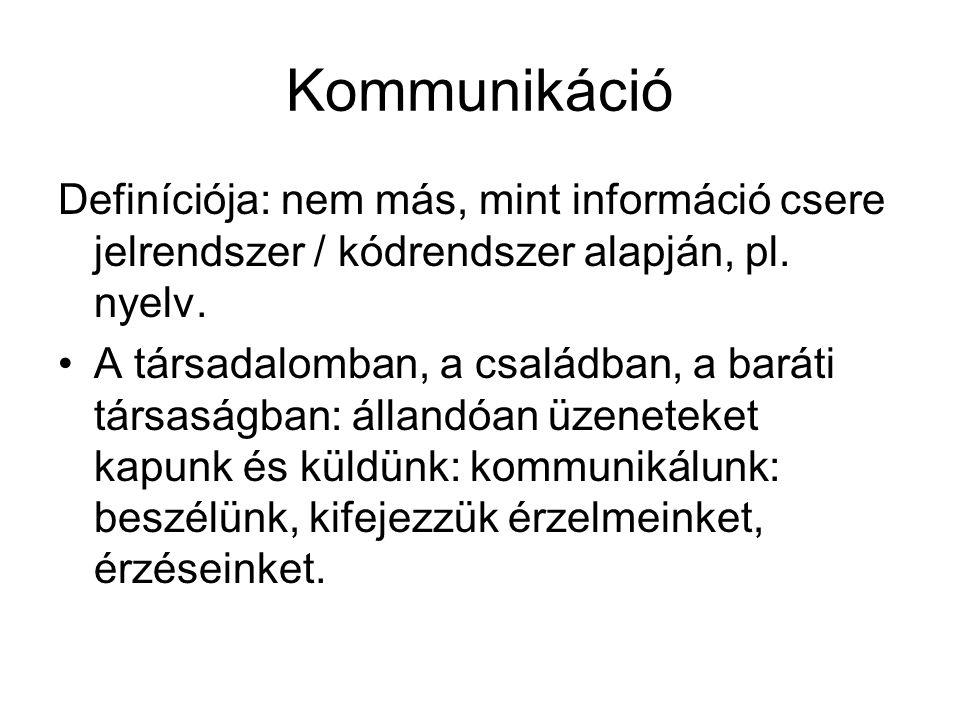 Kommunikáció Definíciója: nem más, mint információ csere jelrendszer / kódrendszer alapján, pl. nyelv.