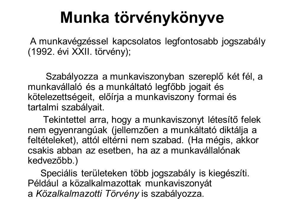 Munka törvénykönyve A munkavégzéssel kapcsolatos legfontosabb jogszabály (1992. évi XXII. törvény);