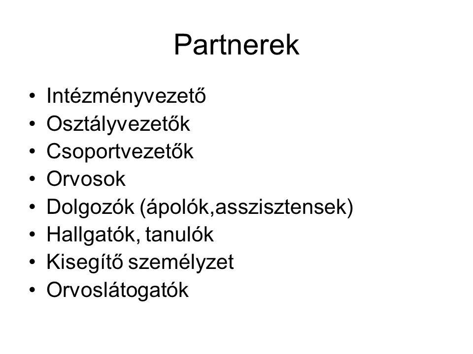 Partnerek Intézményvezető Osztályvezetők Csoportvezetők Orvosok