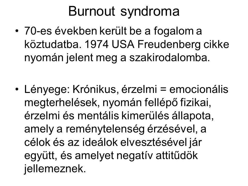 Burnout syndroma 70-es években került be a fogalom a köztudatba. 1974 USA Freudenberg cikke nyomán jelent meg a szakirodalomba.