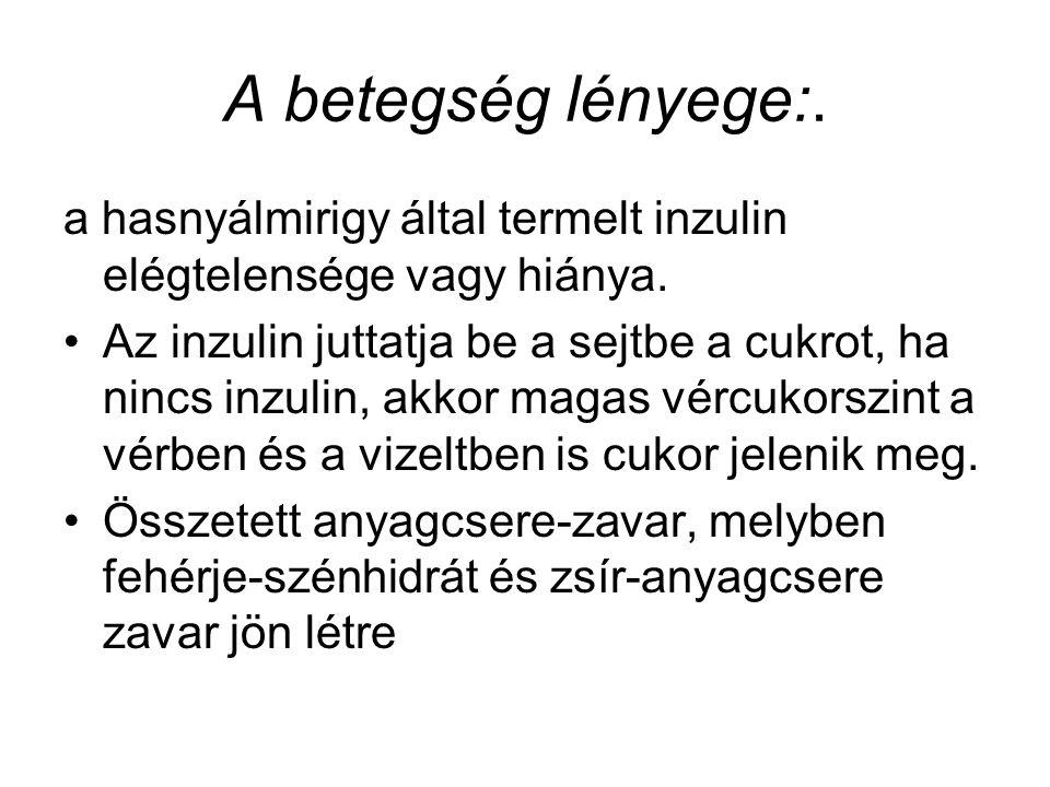 A betegség lényege:. a hasnyálmirigy által termelt inzulin elégtelensége vagy hiánya.