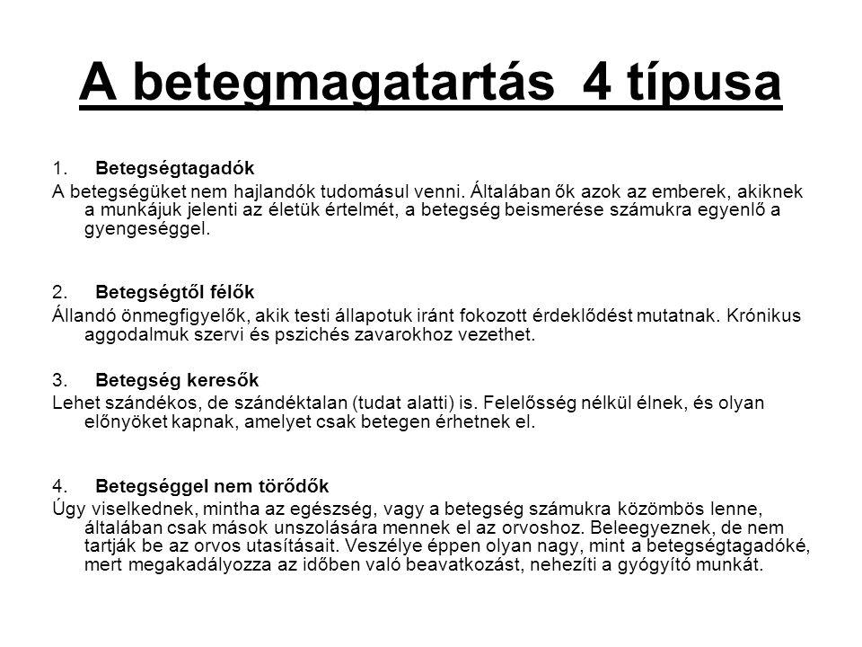 A betegmagatartás 4 típusa