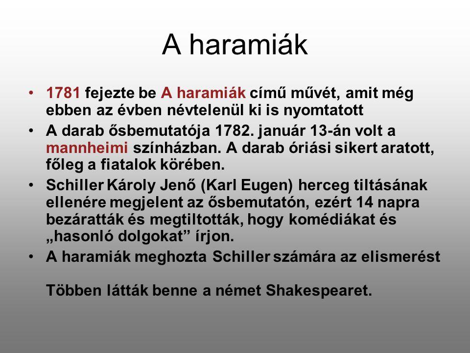 A haramiák 1781 fejezte be A haramiák című művét, amit még ebben az évben névtelenül ki is nyomtatott.