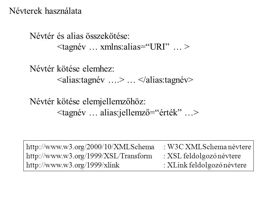 Névtér és alias összekötése: <tagnév … xmlns:alias= URI … >