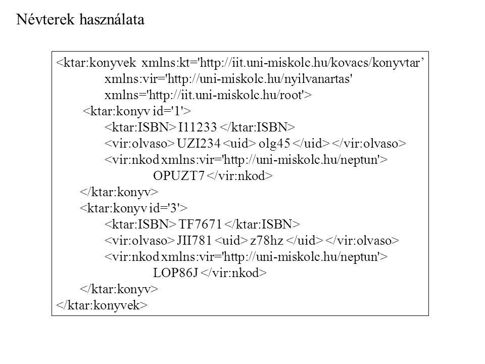 Névterek használata <ktar:konyvek xmlns:kt= http://iit.uni-miskolc.hu/kovacs/konyvtar' xmlns:vir= http://uni-miskolc.hu/nyilvanartas