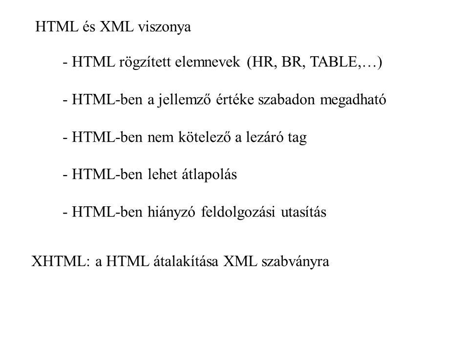 HTML és XML viszonya - HTML rögzített elemnevek (HR, BR, TABLE,…) - HTML-ben a jellemző értéke szabadon megadható.
