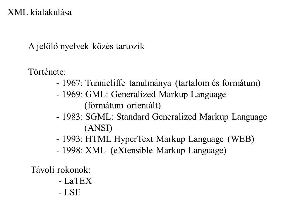 XML kialakulása A jelölő nyelvek közés tartozik. Története: - 1967: Tunnicliffe tanulmánya (tartalom és formátum)