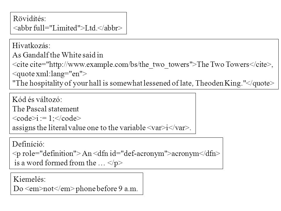 Rövidítés: <abbr full= Limited >Ltd.</abbr> Hivatkozás: As Gandalf the White said in.