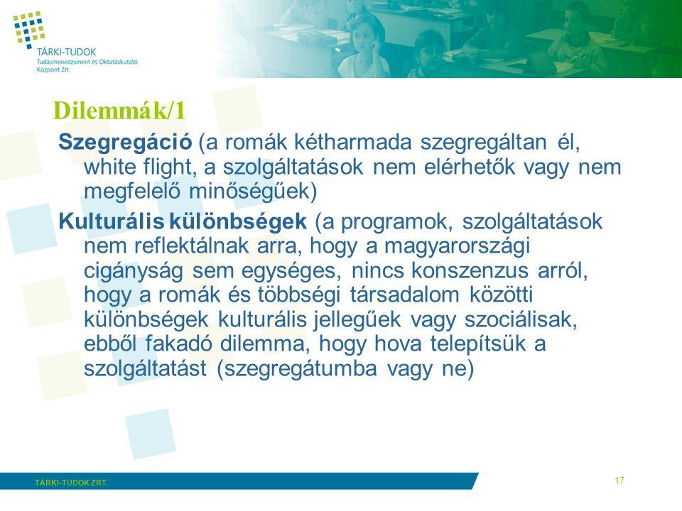 Dilemmák/1 Szegregáció (a romák kétharmada szegregáltan él, white flight, a szolgáltatások nem elérhetők vagy nem megfelelő minőségűek)