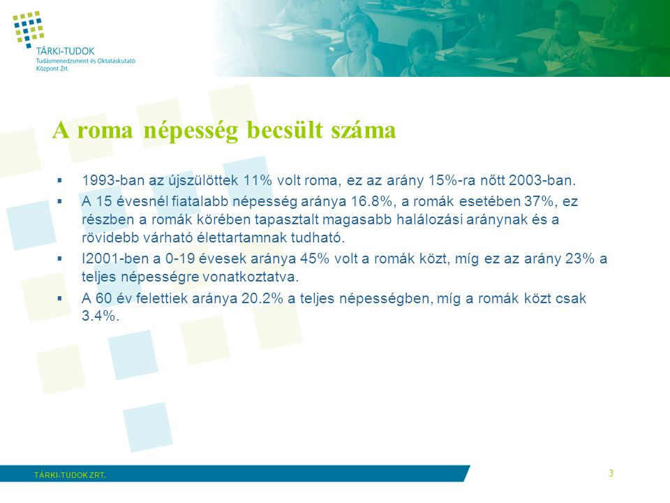 A roma népesség becsült száma