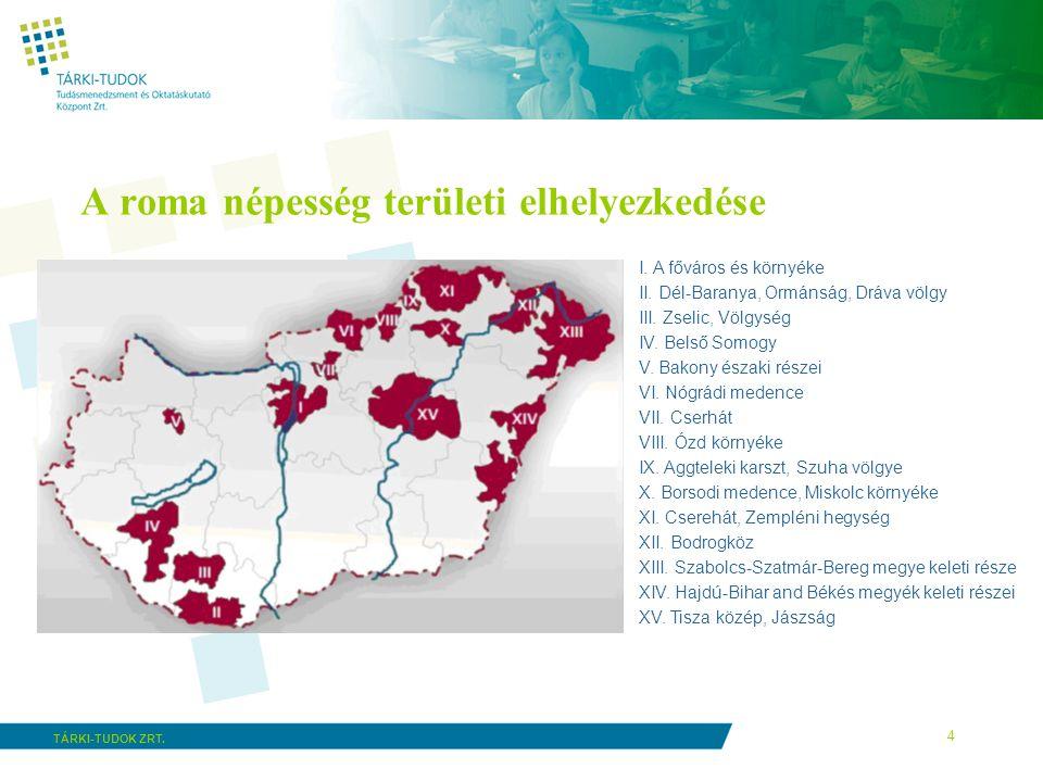 A roma népesség területi elhelyezkedése