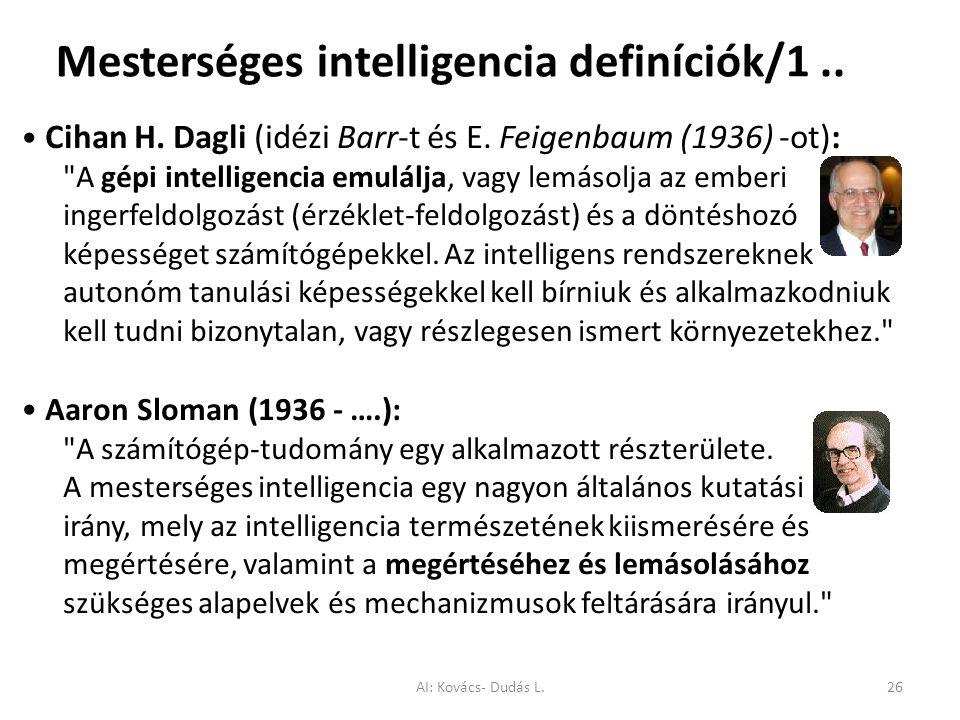 Mesterséges intelligencia definíciók/1 ..