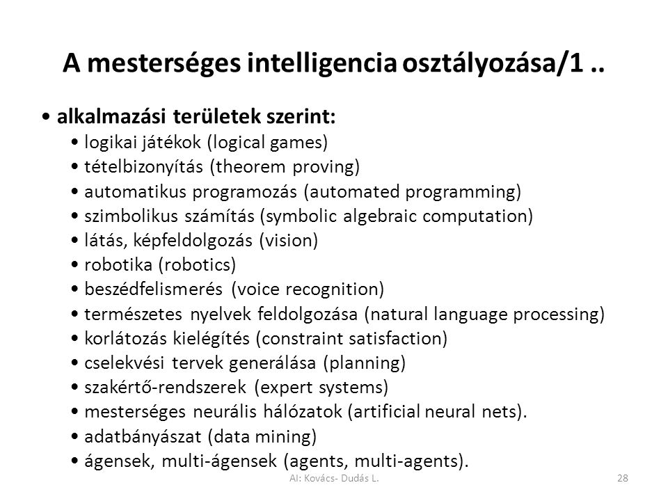 A mesterséges intelligencia osztályozása/1 ..