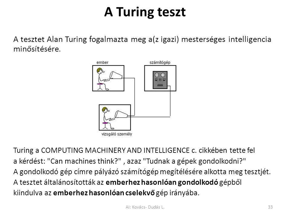 A Turing teszt A tesztet Alan Turing fogalmazta meg a(z igazi) mesterséges intelligencia minősítésére.