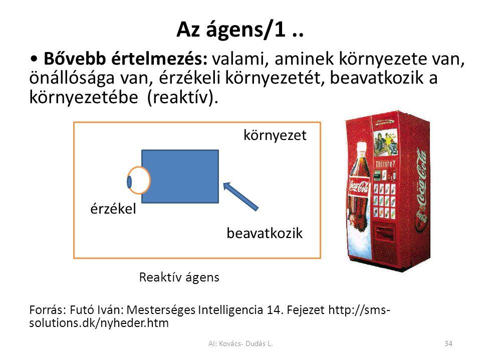 Az ágens/1 .. • Bővebb értelmezés: valami, aminek környezete van, önállósága van, érzékeli környezetét, beavatkozik a környezetébe (reaktív).