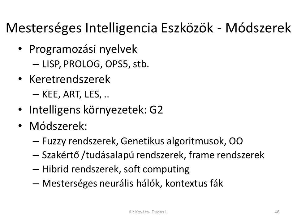 Mesterséges Intelligencia Eszközök - Módszerek