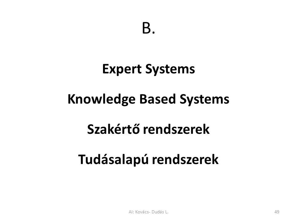 Knowledge Based Systems Tudásalapú rendszerek