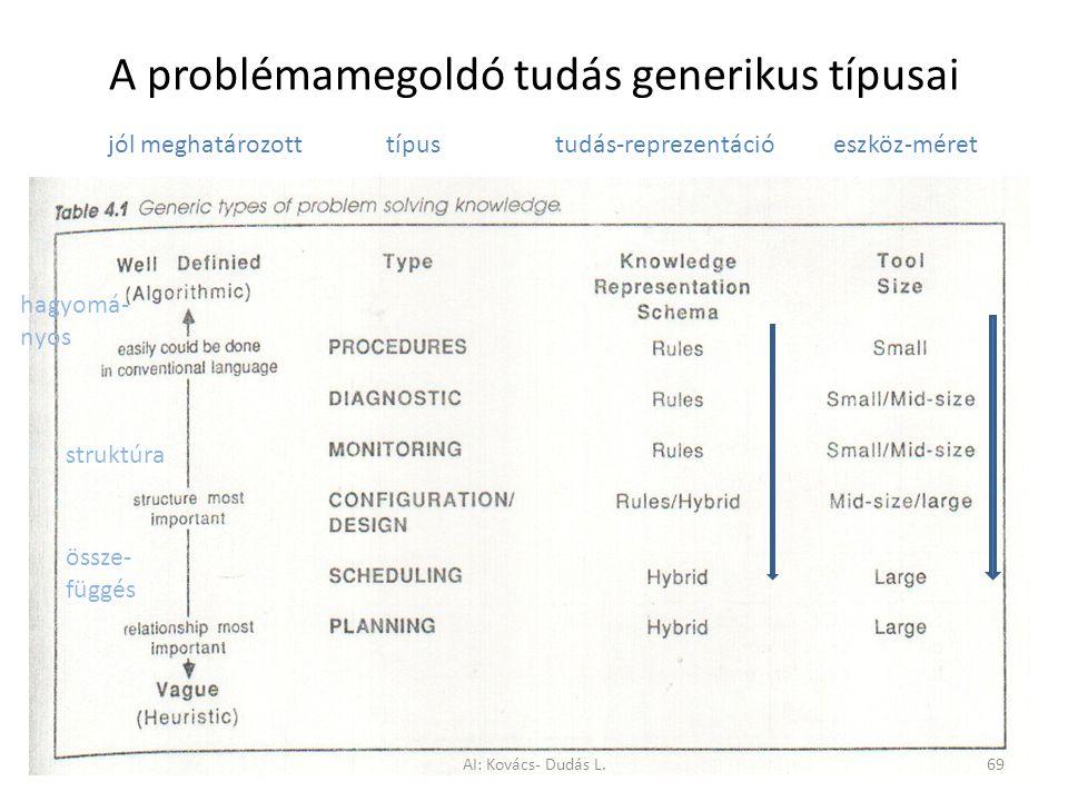 A problémamegoldó tudás generikus típusai
