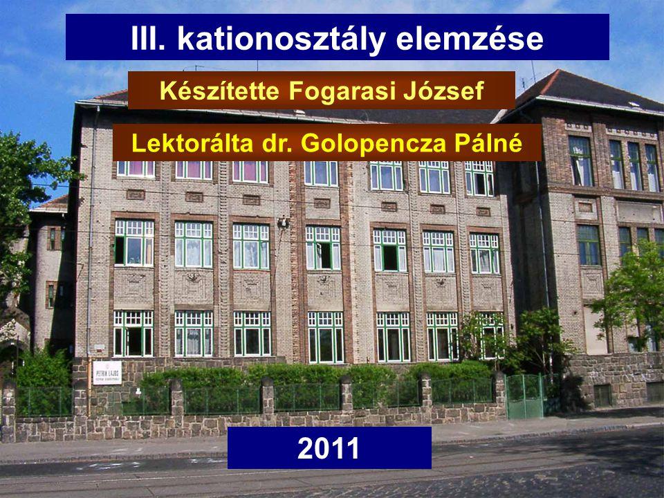 Első rész III. kationosztály elemzése 2011 Készítette Fogarasi József