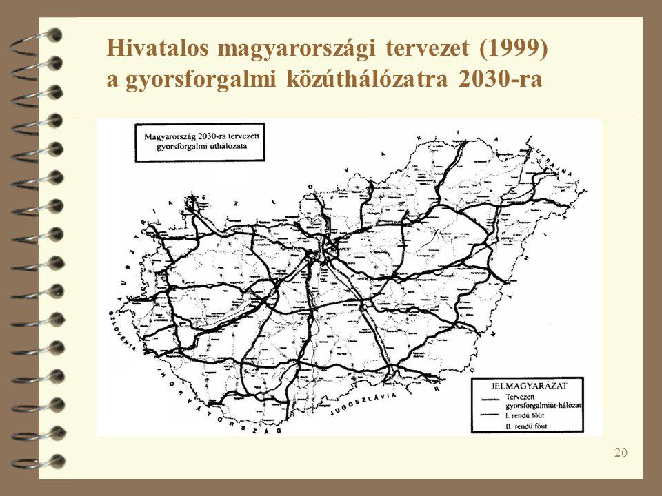 Hivatalos magyarországi tervezet (1999) a gyorsforgalmi közúthálózatra 2030-ra
