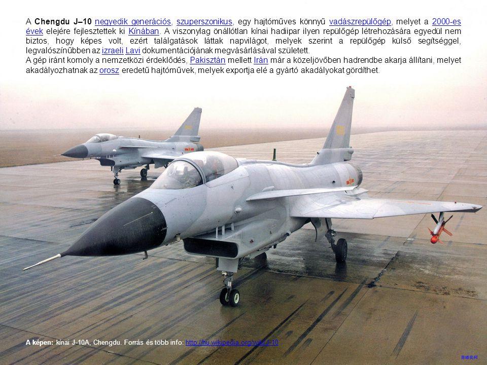 A Chengdu J–10 negyedik generációs, szuperszonikus, egy hajtóműves könnyű vadászrepülőgép, melyet a 2000-es évek elejére fejlesztettek ki Kínában. A viszonylag önállótlan kínai hadiipar ilyen repülőgép létrehozására egyedül nem biztos, hogy képes volt, ezért találgatások láttak napvilágot, melyek szerint a repülőgép külső segítséggel, legvalószínűbben az izraeli Lavi dokumentációjának megvásárlásával született.
