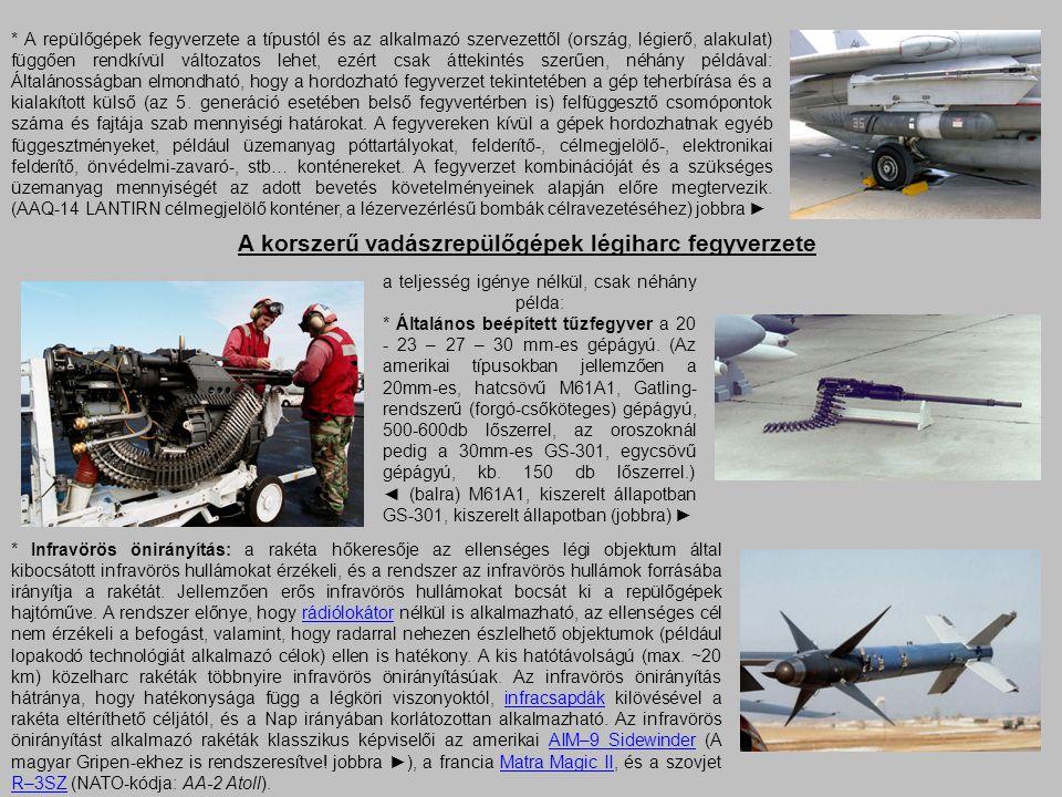 A korszerű vadászrepülőgépek légiharc fegyverzete